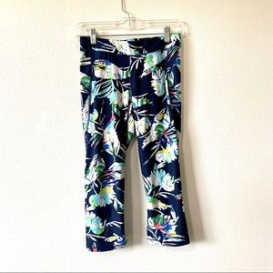 The Limited blue floral cropped leggings